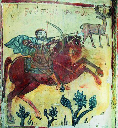 St_Eustathios_&_deer_with_a_crucifixion_(Georgian_fresco,_12th_cent) wikicommons